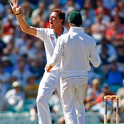23/07/2012 London, England. South Africa's Dale Steyn celebrates fivee wickets during the Investec cricket international test match between England and South Africa, played at the Kia Oval cricket ground: Mandatory credit: Mitchell Gunn