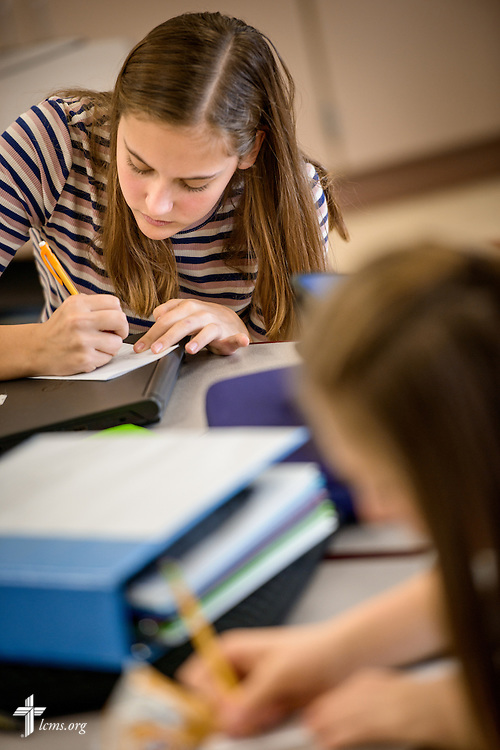 A student takes a spelling test on Friday, Oct. 28, 2016, at First Immanuel Lutheran School in Cedarburg, Wis. LCMS Communications/Erik M. Lunsford