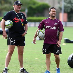 DURBAN, SOUTH AFRICA, November 26 2015 - Gary Gold (Sharks Director of Rugby)  with Omar Mouneimne (Defence coach) of the Cell C Sharks during The Cell C Sharks Pre Season training for the 2016 Super Rugby Season at Growthpoint Kings Park in Durban, South Africa. (Photo by Steve Haag)<br /> images for social media must have consent from Steve Haag