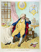 A Voluptuary under the horrors of digestion' George IV ( Prince Regent 1811-1820) when Prince of Wales, showing his extravagance, grossness and self-indulgence. Cartoon by James Gilray (1756-1815) published London 1792.