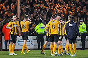 Cambridge United Tom Champion celebrates the 0-0 draw after the The FA Cup match between Cambridge United and Manchester United at the R Costings Abbey Stadium, Cambridge, England on 23 January 2015. Photo by Phil Duncan.