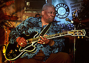 Legendary blues guitarist B.B. King plays to his hometown fans in Indianola Mississippi. Indianola Mississippi- Multi Grammy winner and legendary blues guitarist B.B. King plays his hometown crowd outside his museum the  B.B. King Delta Interpretive Center and Museum. Photo© Suzi Altman