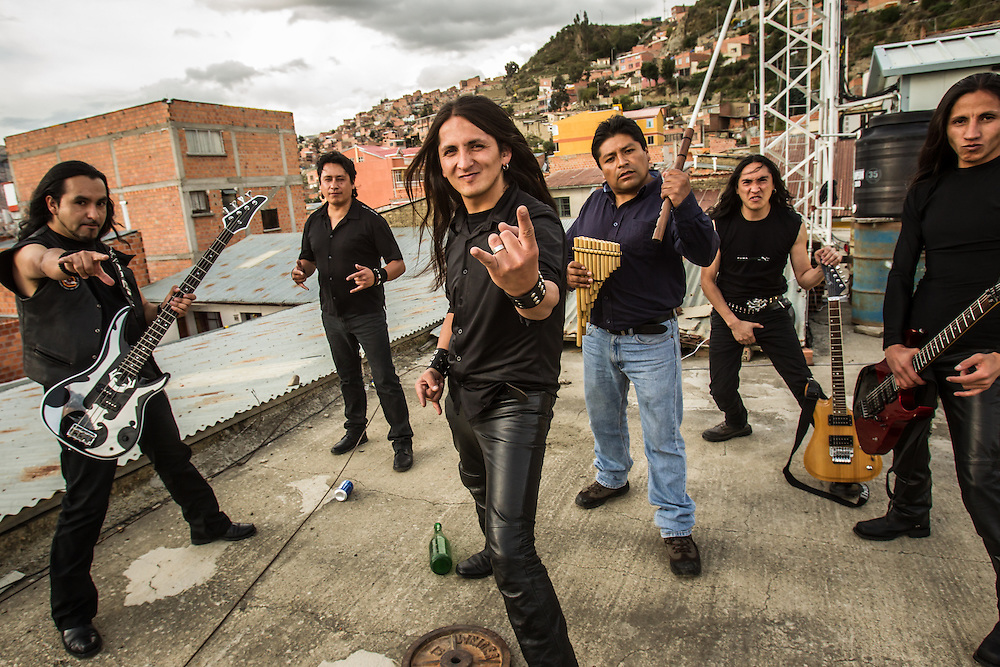 LA PAZ, BOLIVIA - December 19, 2013: The fusion heavy metal band Armadura poses for a group portrait after recording a music video on a rooftop in La Paz. CREDIT: Meridith Kohut for The New York Times