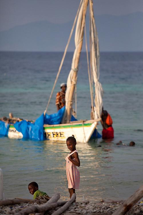 Kids on the beach near Anse a Galet, Ile de la Gonave, Haiti