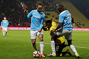 Burton Albion midfielder Marcus Harness (22), Watford midfielder Brandon Mason (32) and Burton Albion striker Lucas Akins (10) during the The FA Cup 3rd round match between Watford and Burton Albion at Vicarage Road, Watford, England on 7 January 2017. Photo by Richard Holmes.