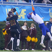 Milford TYREKE BENSON (13) catches a 47 yard pass from Matthews during the 2017 DIAA Division II state championship game between the Delmar and Milford Saturday, Dec. 02, 2017 at Delaware Stadium in Newark, DE.