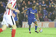 AFC Wimbledon midfielder Tom Soares (19) dribbling during the The FA Cup match between AFC Wimbledon and Lincoln City at the Cherry Red Records Stadium, Kingston, England on 4 November 2017. Photo by Matthew Redman.