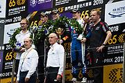 Daniel TICKTUM, GBR, Motopark Academy Dallara-Volkswagen, Joel ERIKSSON,  SWE, Motopark Academy Dallara-Volkswagen , Sacha FENESTRAZ, FRA, Carlin Dallara-Volkswagen <br /> <br /> 65th Macau Grand Prix. 14-18.11.2018.<br /> Suncity Group Formula 3 Macau Grand Prix - FIA F3 World Cup<br /> Macau Copyright Free Image for editorial use only