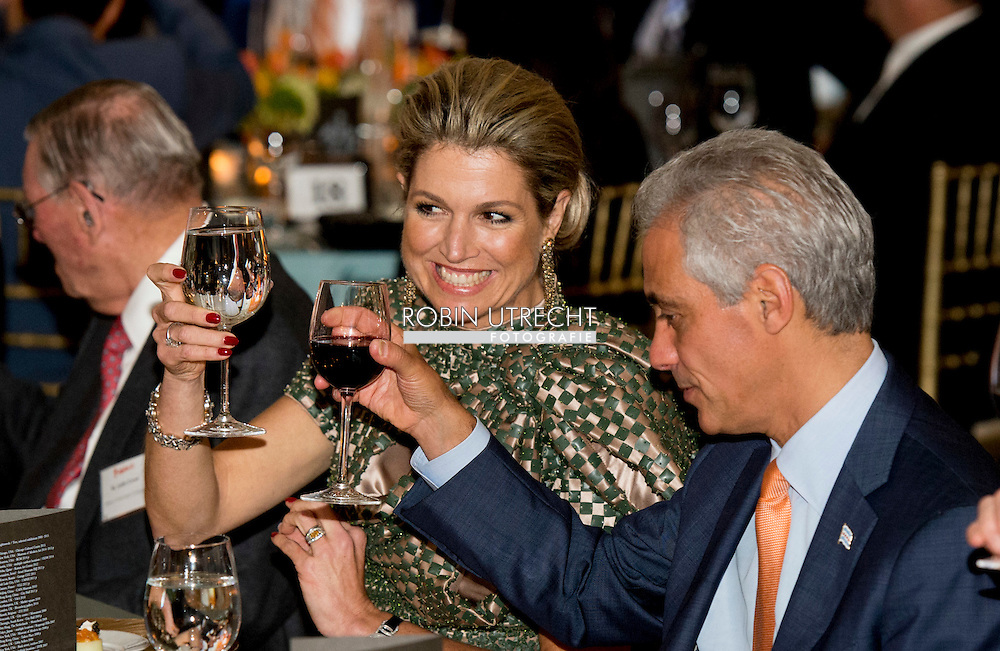 King Willem-Alexander and Queen Maxima of The Netherlands Visit to Mayors Cocktail en Business Dinner with R.I. Emanuel, Mayor of Chicago  in Chicago. United States, 2 June 2015.The King and Queen visit the United States during an 3 day official visit. COPYRIGHT ROBIN UTRECHT