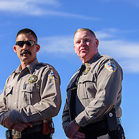 020615  Adron Gardner/Independent<br /> <br /> Cibola County sheriff's Tony Mace, left, and new undersheriff Mike Munk, pose for a portrait in Grants Friday.  Munk was sworn in as undersheriff Friday.