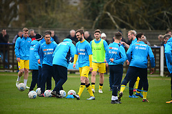 BRACKLEY TOWN WARM UP BEFORE KICK OFF, Wealdstone FC v Brackley Town Buildbase FA Trophy Semi Final 2nd Leg, Saturday 24th March 2018, Score 0-2 (Byrne, Williams,) <br /> Photo:Mike Capps