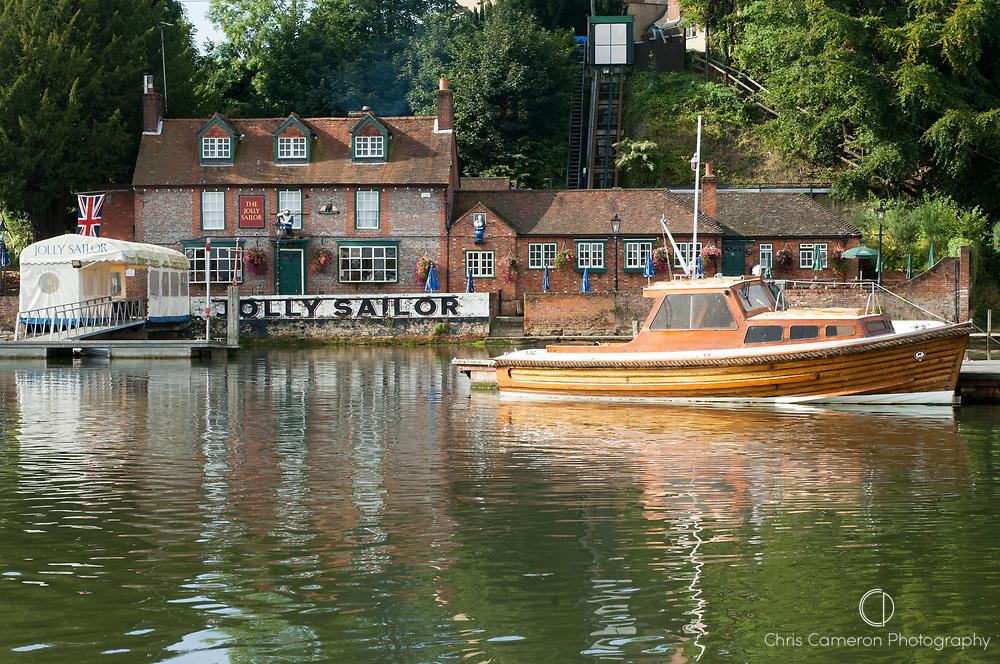 The Jolly Sailor Pub on the River Hamble. United Kingdom.