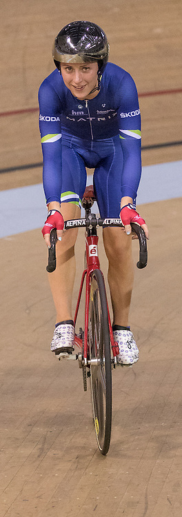 Laura Trott (Matrix Fitness) during her win of the UCI Points Race - Women.  Revolution 55 Track Cycling Glasgow, 28th November 2015
