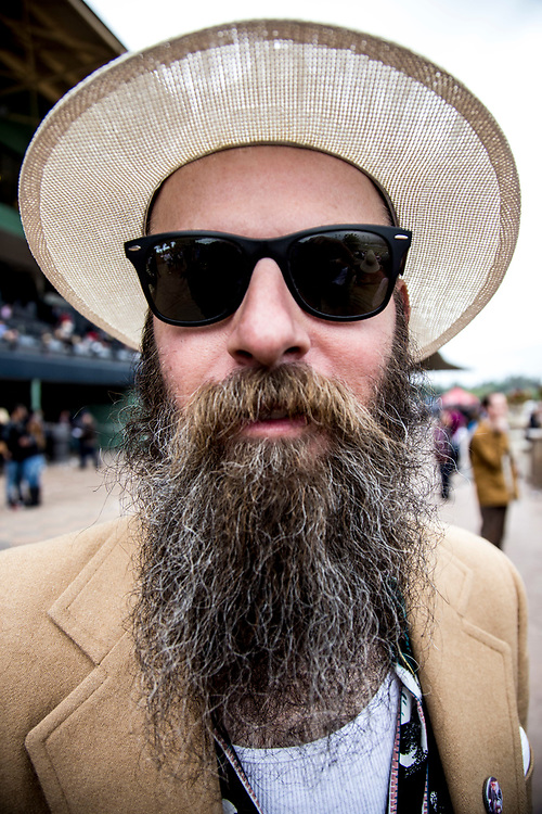 A man poses for a portrait at Santa Anita Park the day of the Kentucky Derby celebrated Saturday May 6, 2017. <br /> <br /> photo by Samuel Navarro / Sport Shooter Academy.