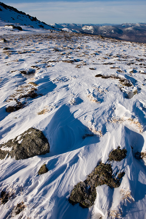 Wind scoured snow on Mount Clay in New Hampshire's White Mountains.