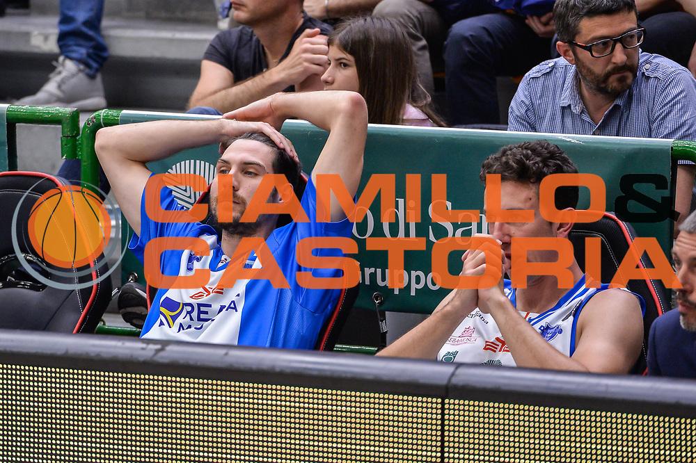 Diego Monaldi, Giacomo Devecchi<br /> Banco di Sardegna Dinamo Sassari - Dolomiti Energia Aquila Basket Trento<br /> Legabasket Serie A LBA Poste Mobile 2016/2017<br /> Playoff Quarti Gara3<br /> Sassari 16/05/2017<br /> Foto Ciamillo-Castoria