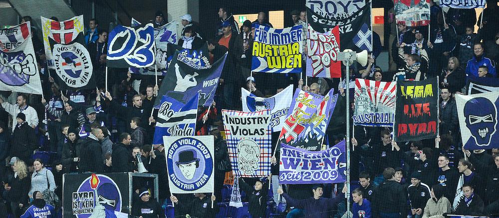 13.11.2010, AUT, Franz Horr Stadion, Wien, 1. FBL, FK Austria Wien vs KSV Superfund, im Bild Austria Fans mit diversen Banner, EXPA Pictures © 2010, PhotoCredit: EXPA/ M. Gruber