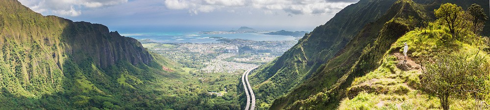 Panorama of a hiker on the Moanalua Saddle looking into Haiku Valley, Oahu, Hawaii
