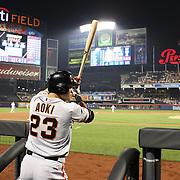 Nori Aoki, San Francisco Giants, preparing to bat during the New York Mets Vs San Francisco Giants MLB regular season baseball game at Citi Field, Queens, New York. USA. 11th June 2015. Photo Tim Clayton