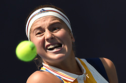 BEIJING, Oct. 4, 2017  Jelena Ostapenko of Latvia returns the ball during the women's singles second round match against Samantha Stosur of Australia at 2017 China Open tennis tournament in Beijing, capital of China, Oct. 4, 2017. Jelena Ostapenko won 2-0. (Credit Image: © Ju Huanzong/Xinhua via ZUMA Wire)
