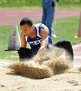 BENSALEM, PA - APRIL 12:  Avery McClease competes in the triple jump during Bensalem Invitational boys track and field meet at Bensalem High School April 12, 2014 in Bensalem Pennsylvania. (Photo by William Thomas Cain/Cain Images)