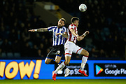 Steven Fletcher of Sheffield Wednesday and Danny Batth of Stoke City during the EFL Sky Bet Championship match between Sheffield Wednesday and Stoke City at Hillsborough, Sheffield, England on 22 October 2019.