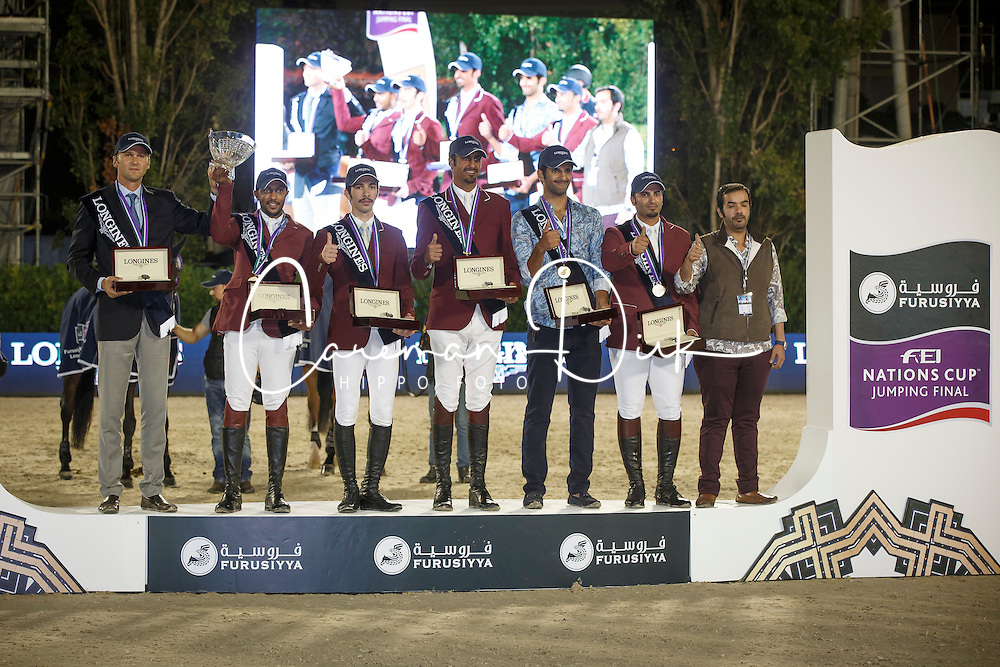 Team Qatar, Sheik Al Thani All Bin Khalid, Al Emadi Khalid Mohamed,Al Rumaihi All Yousef, Mohammed Bassem Hassan, Meeus Willem , FEI President<br /> Logines Challenge Cup<br /> Furusiyya FEI Nations Cup Jumping Final - Barcelona 2015<br /> &copy; Dirk Caremans<br /> 25/09/15