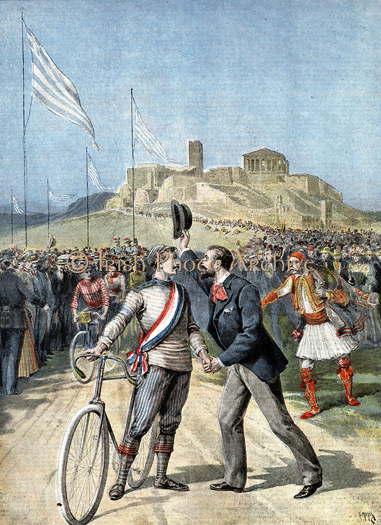 Paul Masson (1874-1945) French cyclist, being congratulated by a compatriot on winning a cycle race at the first modern Olympiad, Athens 1896. Masson won three Gold medals, for the 2km, 10km and 333m races.  From 'Le Petit Journal' Paris  26 April 1896.