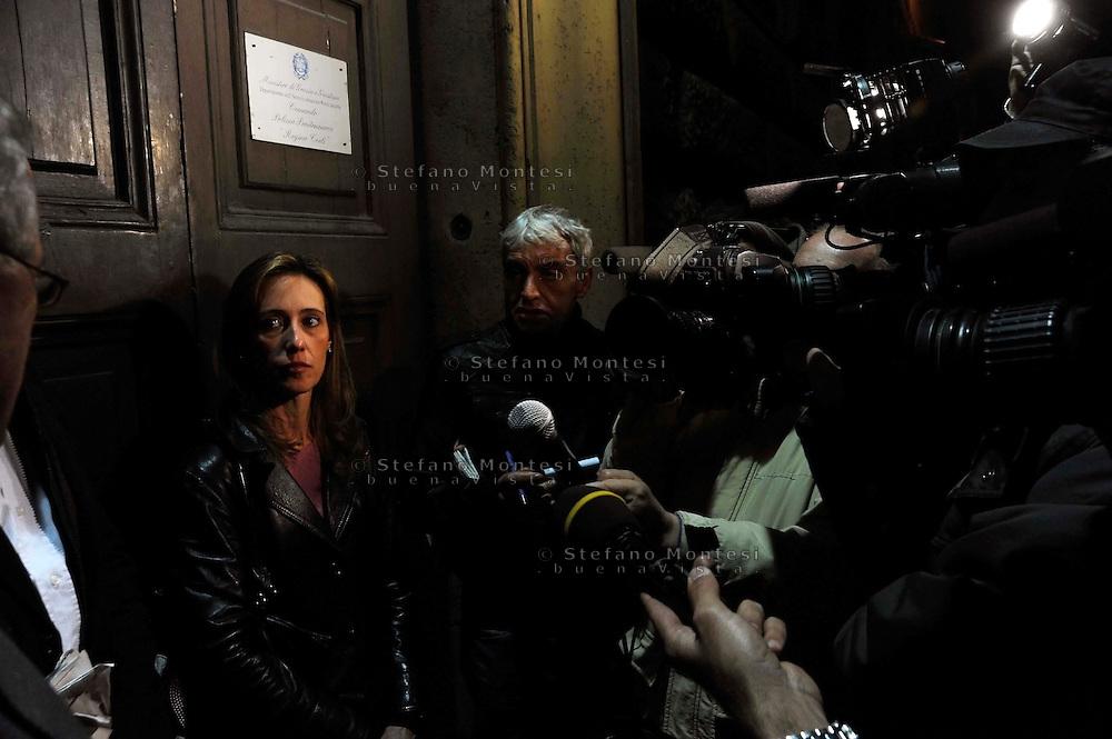 Roma 1 Novembre 2009.Conferenza stampa dopo la visita al  carcere di Regina Coeli del senatore Stefano Pedica dell'Italia dei Valori  dell'avvocato  Stefano Maranella e  Ilaria, la sorella di Stefano Cucchi, il geometra romano, di 31 anni, morto il 22 ottobre dopo un arresto per droga da parte dei Carabinieri..Rome, November 1, 2009.Press conference after visiting the prison of Regina Coeli  of the Senator Stefano Pedica Italy of Values, lawyer Stefano Maranella and Ilaria, the sister of Stephen Cucchi, the surveyor Roman, age 31, died October 22 after an arrest for drug by Police.