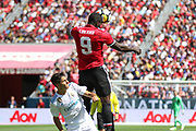 Manchester United Forward Romelu Lukaku wins a header during the AON Tour 2017 match between Real Madrid and Manchester United at the Levi's Stadium, Santa Clara, USA on 23 July 2017.