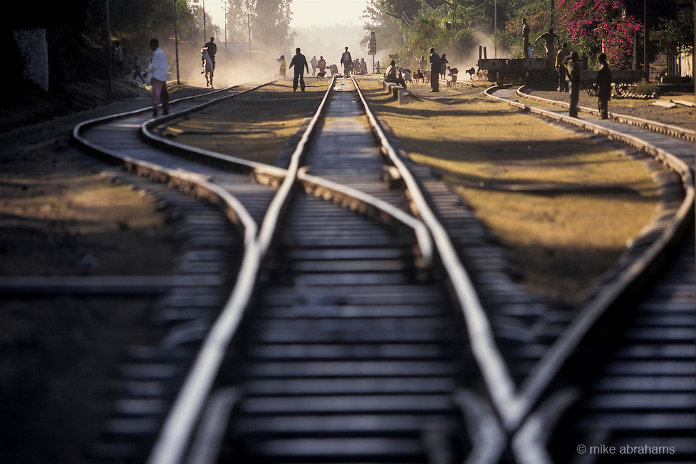The railway track running through Debre Zeit, Ethiopia