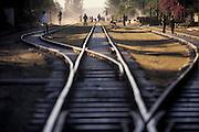 The railway track running through Debre Zeit, Ethiopia