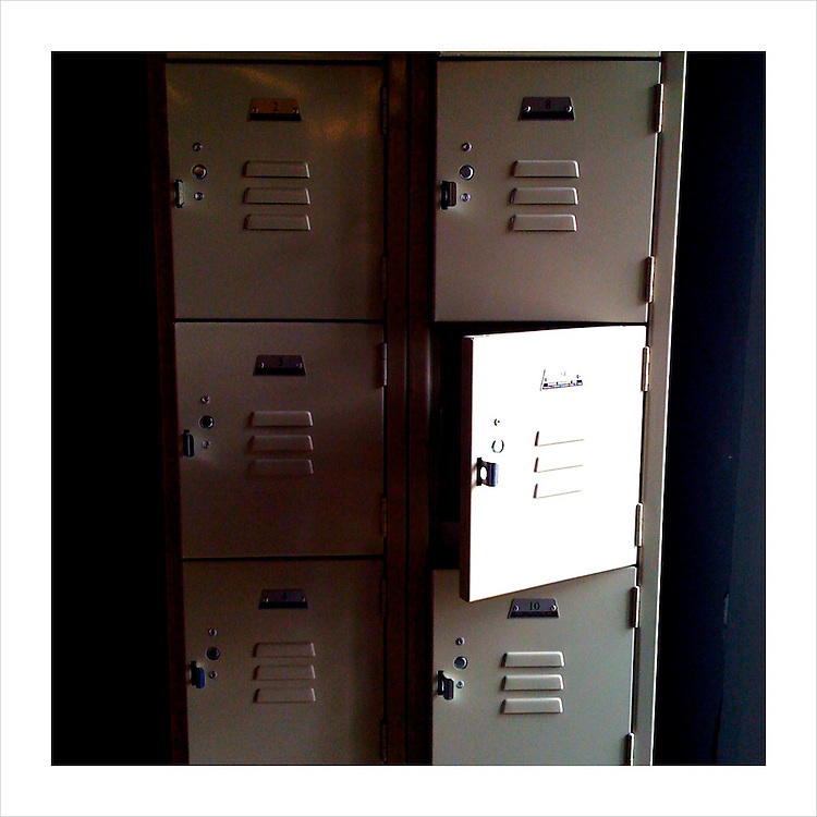 Open lockers reflecting the sunlight. (iPhone image)