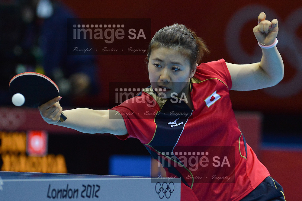 LONDON, ENGLAND - AUGUST 7, Ai Fukuhara of Japan during the Womens Team gold medal table tennis match between Japan and China at the Exel Exhibition hall  on August 7, 2012 in London, England.Photo by Roger Sedres / Gallo Images