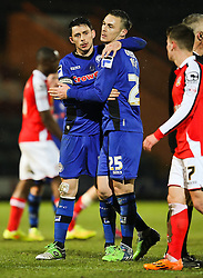 Rochdale's Ian Henderson celebrates with Rochdale's Michael Rose after the final whistle - Photo mandatory by-line: Matt McNulty/JMP - Mobile: 07966 386802 - 03/03/2015 - SPORT - football - Rochdale - Spotland Stadium - Rochdale v Crewe Alexandra - Sky Bet League One