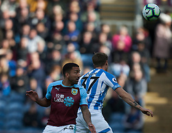 Aaron Lennon of Burnley (L) and Eric Durm of Huddersfield Town in action - Mandatory by-line: Jack Phillips/JMP - 06/10/2018 - FOOTBALL - Turf Moor - Burnley, England - Burnley v Huddersfield Town - English Premier League