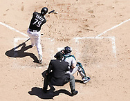 CHICAGO - APRIL 25:  Jose Abreu #79 of the Chicago White Sox bats against the Seattle Mariners on April 25, 2018 at Guaranteed Rate Field in Chicago, Illinois.  (Photo by Ron Vesely)   Subject:   Jose Abreu