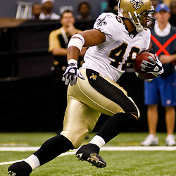Oct 24, 2010; New Orleans, LA, USA; New Orleans Saints running back Ladell Betts (46) runs against the Cleveland Browns during the first quarter at the Louisiana Superdome. Mandatory Credit: Derick E. Hingle