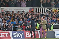 Newport manager Justin Edinburgh (left) applauds the supporters at the end of the match. Skybet football league two match, Newport county v Rochdale at Rodney Parade in Newport, South Wales on Saturday 3rd May 2014.<br /> pic by Mark Hawkins, Andrew Orchard sports photography.
