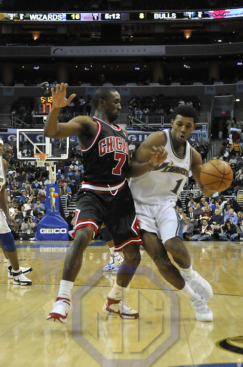 19 December 2007:   Washington Wizards forward Nick Young (1) in action against Chicago Bulls guard Ben Gordon (7) at the Verizon Center in Washington, D.C.  The Bulls defeated the Wizards 95-84.