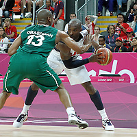 02 August 2012: Nigeria Derrick Obasihan defends on USA Kobe Bryant during 156-73 Team USA victory over Team Nigeria, during the men's basketball preliminary, at the Basketball Arena, in London, Great Britain.