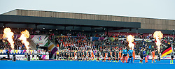 The teams walk out before the final. The Netherlands v Germany - Final Unibet EuroHockey Championships, Lee Valley Hockey & Tennis Centre, London, UK on 29 August 2015. Photo: Simon Parker