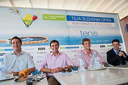 Gregor Krusic, Denis Topcic, Blaz Rola, Borut Fakin during press conference of ATP Challenger Tilia Slovenia Open 2013, on June 20, 2013 in Hotel Metropol, Portoroz, Slovenia. (Photo By Vid Ponikvar / Sportida)