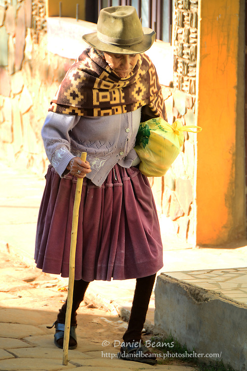Elderly woman returning from market, Samaipata, Santa Cruz, Bolivia