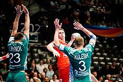 18.01.2020, Wiener Stadthalle, Wien, AUT, EHF Euro 2020, Weißrussland vs Tschechische Republik, Hauptrunde, Gruppe I, im Bild v. l. Andrei Yurynok (BLR), Stanislav Kasparek (CZE), Uladzislau Klesh (BLR) // f. l. Andrei Yurynok (BLR) Stanislav Kasparek (CZE) Uladzislau Klesh (BLR) during the EHF 2020 European Handball Championship, main round group I match between Belarus and Czech Republic at the Wiener Stadthalle in Wien, Austria on 2020/01/18. EXPA Pictures © 2020, PhotoCredit: EXPA/ Florian Schroetter