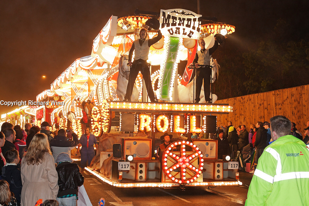 Wagons Roll by Mendip Vale Carnival Club in 2011. Bridgwater Carnival is an annual event to raise money for local charities. It is widely reputed to be the largest illuminated carnival in the world.