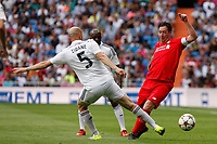 Real Madrid´s Zidane (L) and Liverpool´s Fowler during 2015 Corazon Classic Match between Real Madrid Leyendas and Liverpool Legends at Santiago Bernabeu stadium in Madrid, Spain. June 14, 2015. (ALTERPHOTOS/Victor Blanco)