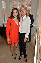 Left to right, LAUREN KEMP and LUCINDA GARLAND at a party to celebrate the launch of the new Stephen Webster Salon at 130 Mount Street, London on 18th May 2016.