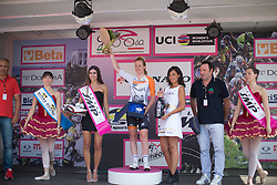 Second placed rider Anna van der Breggen (NED) of Rabo-Liv Cycling Team stands on the podium after the Giro Rosa 2016 - Stage 7. A 21.9 km individual time trial from Albisola to Varazze, Italy on July 8th 2016.