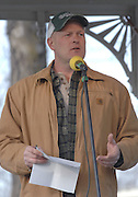 "Joe ""The Plumber"" Wurzelbacher speaks in support of Fair Tax legislation at a Friday evening ""Tea Party"" in downtown Petoskey's Pennsylvania Park. The event was organized by the Emmet County Chapter of Taxed Enough Already."
